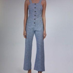 Mini Stripe Button Front Jumpsuit Size Large